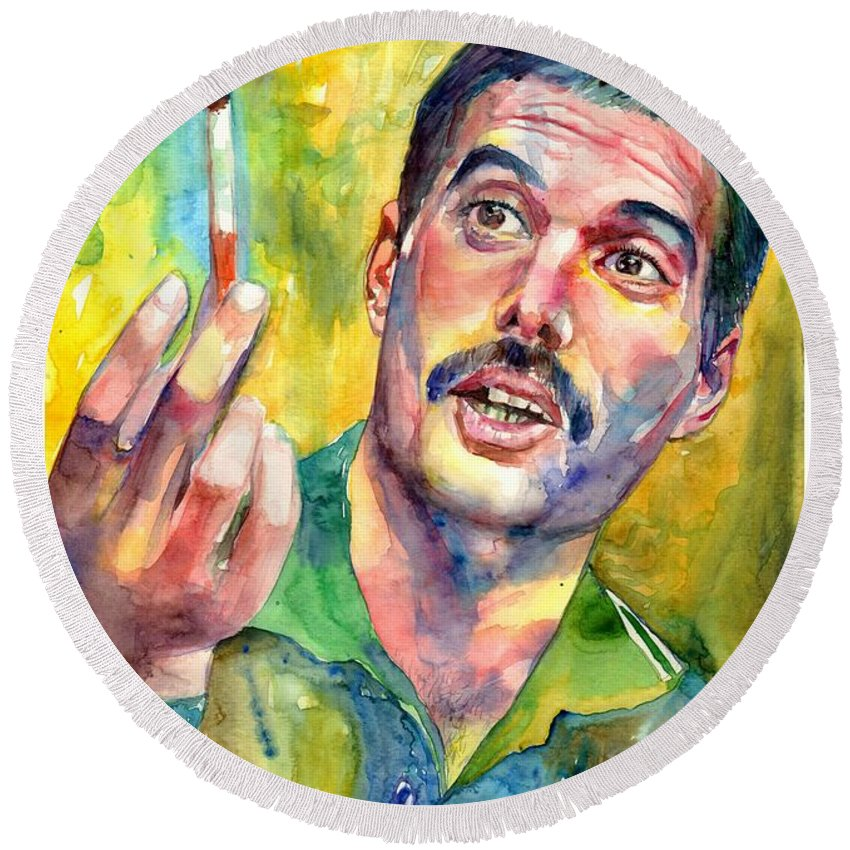 Freddie Mercury Round Beach Towel featuring the painting Mr Bad Guy - Freddie Mercury Portrait by Suzann Sines