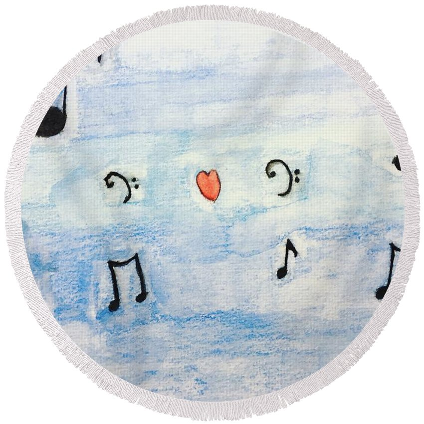 Music Round Beach Towel featuring the painting Music In The Air by Epic Luis Art
