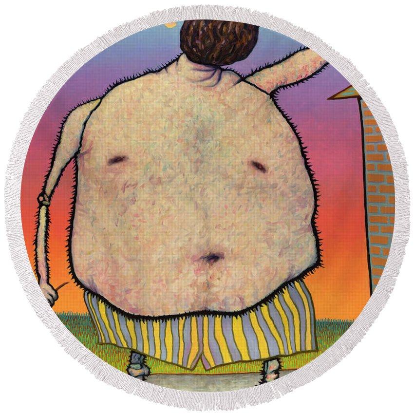 Raisin Round Beach Towel featuring the painting My Head Is A Raisin. by James W Johnson
