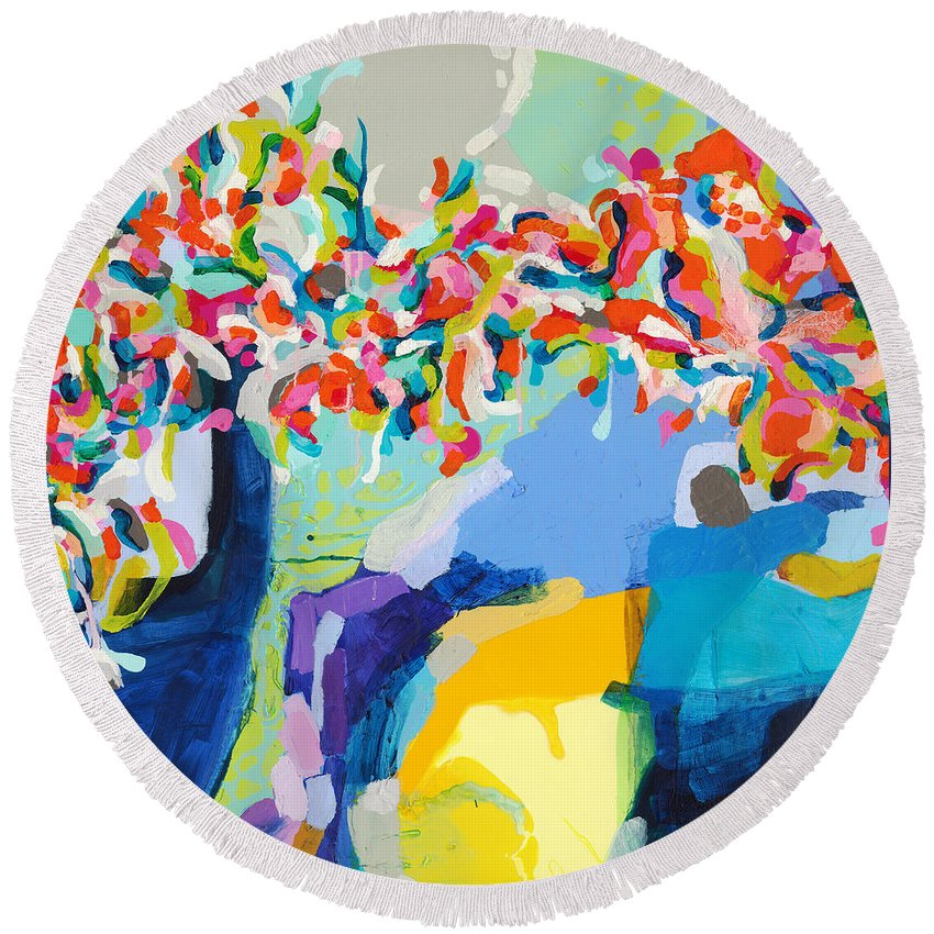 Abstract Round Beach Towel featuring the painting My Vanity by Claire Desjardins