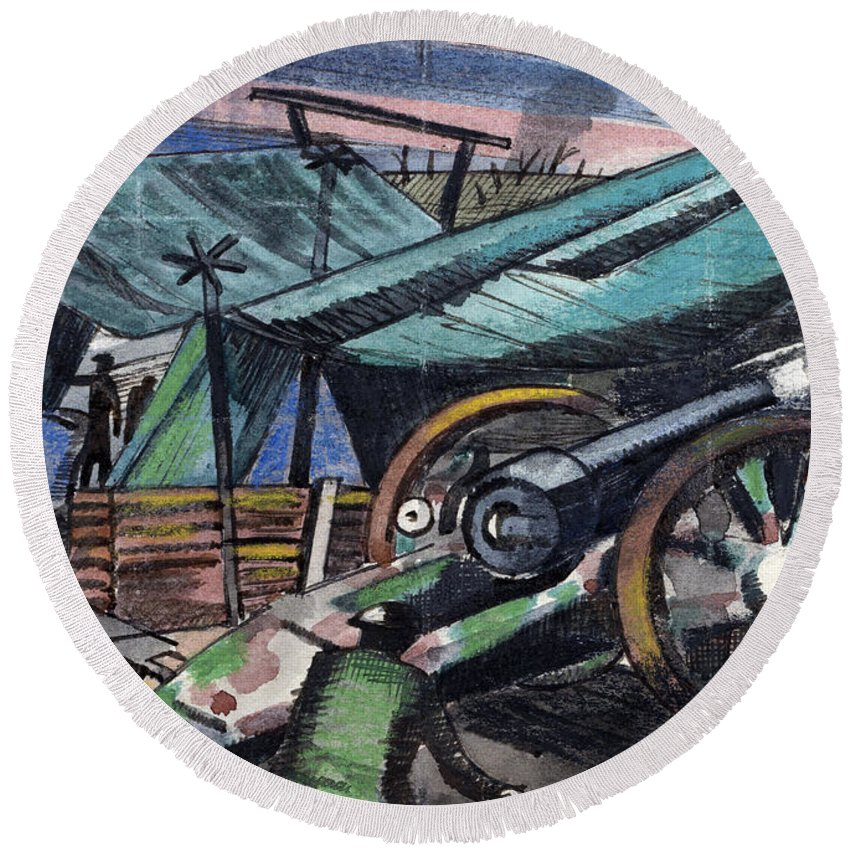 B1019 Round Beach Towel featuring the painting A Howitzer Firing, 1918 by Paul Nash