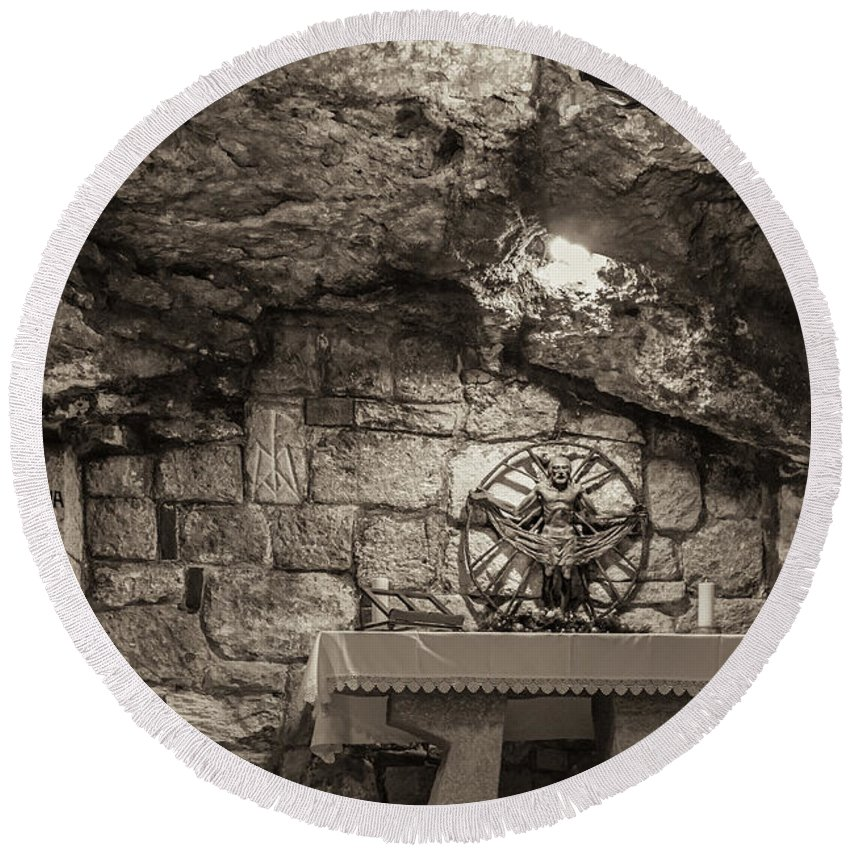 Ancient Round Beach Towel featuring the photograph Nativity Cave by Sean O'Cairde
