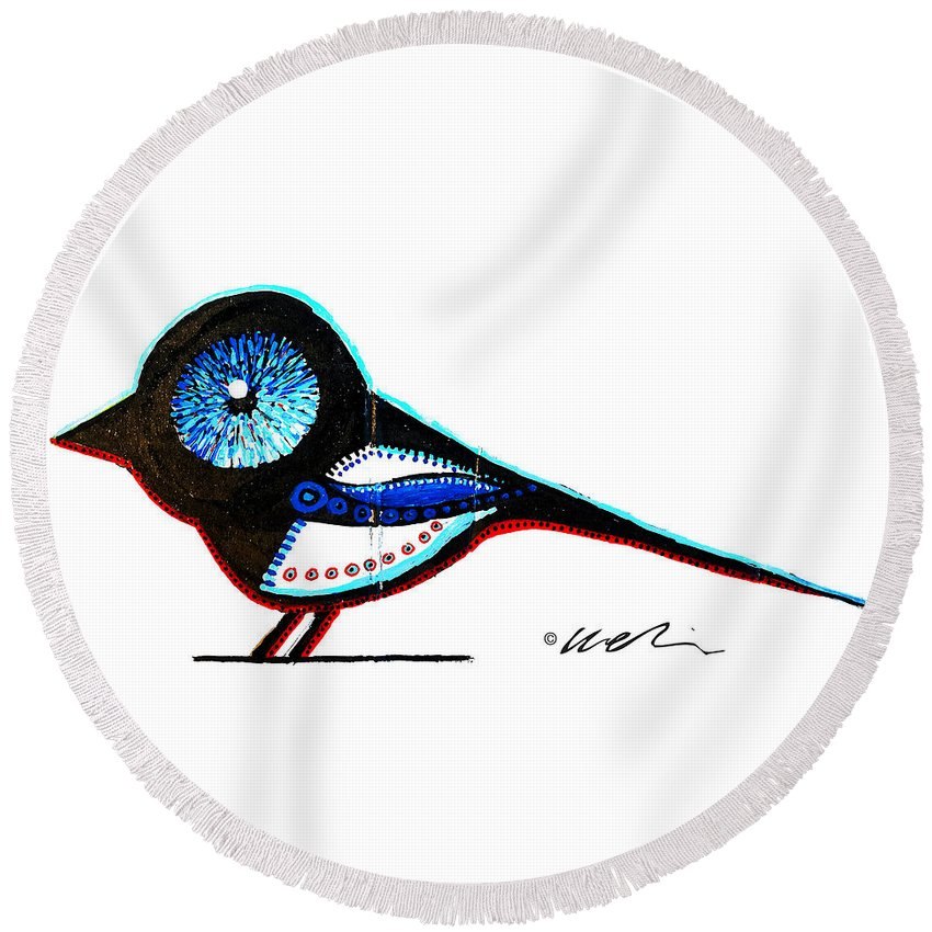 Magpie Round Beach Towel featuring the painting Nevermore by Howard Weliver