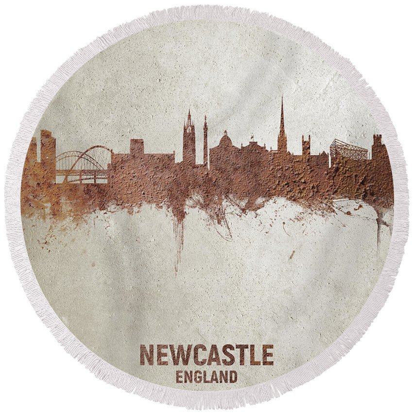 Newcastle Round Beach Towel featuring the digital art Newcastle England Rust Skyline by Michael Tompsett