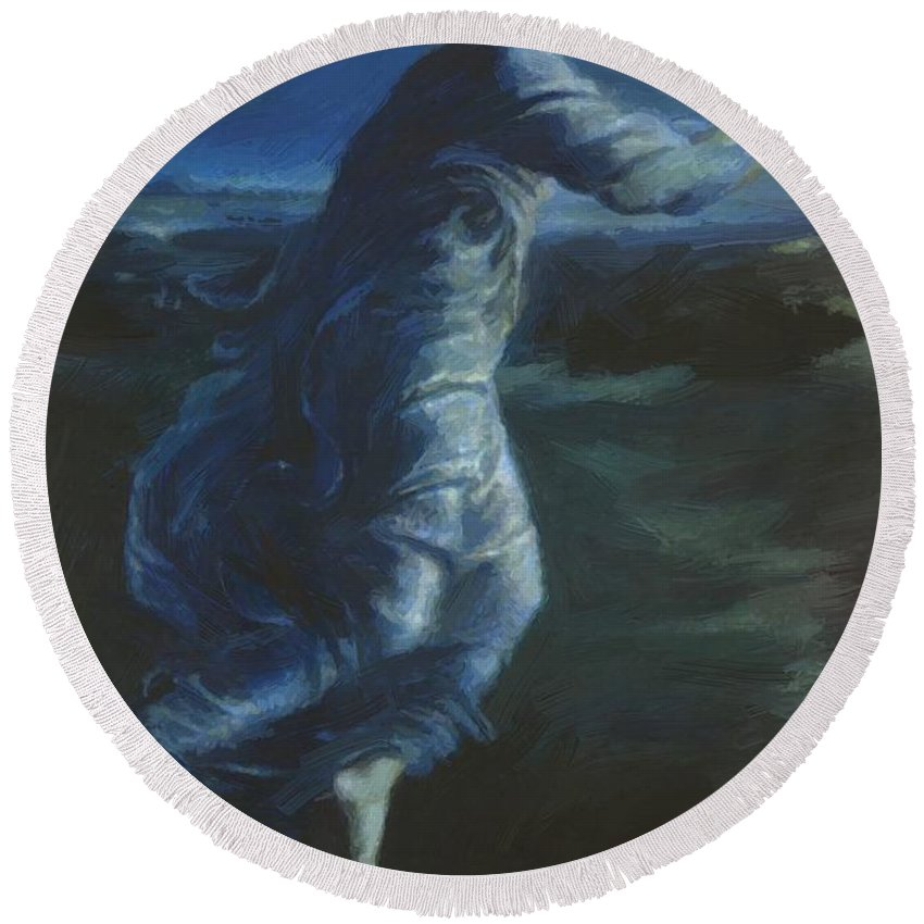 Night Round Beach Towel featuring the painting Night 1870 by BurneJones Edward