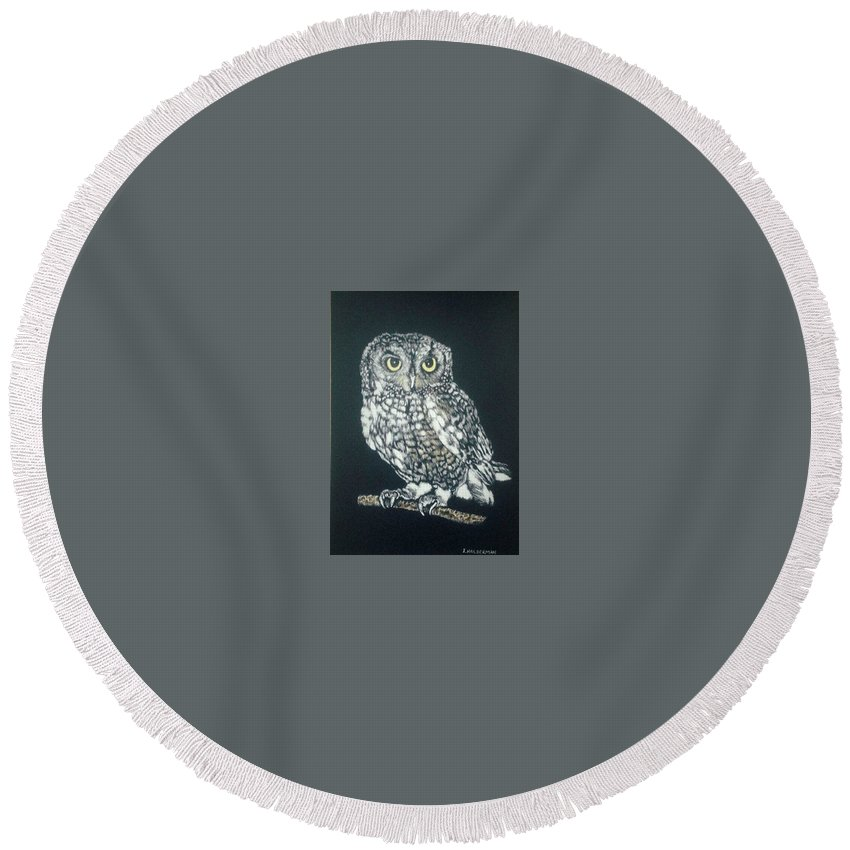 Scratchboard Art Round Beach Towel featuring the drawing Nighttime Visitor by ILona Halderman