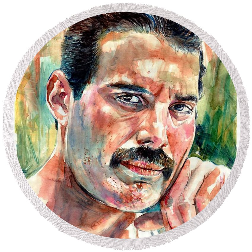 Freddie Mercury Round Beach Towel featuring the painting No One But You - Freddie Mercury Portrait by Suzann Sines