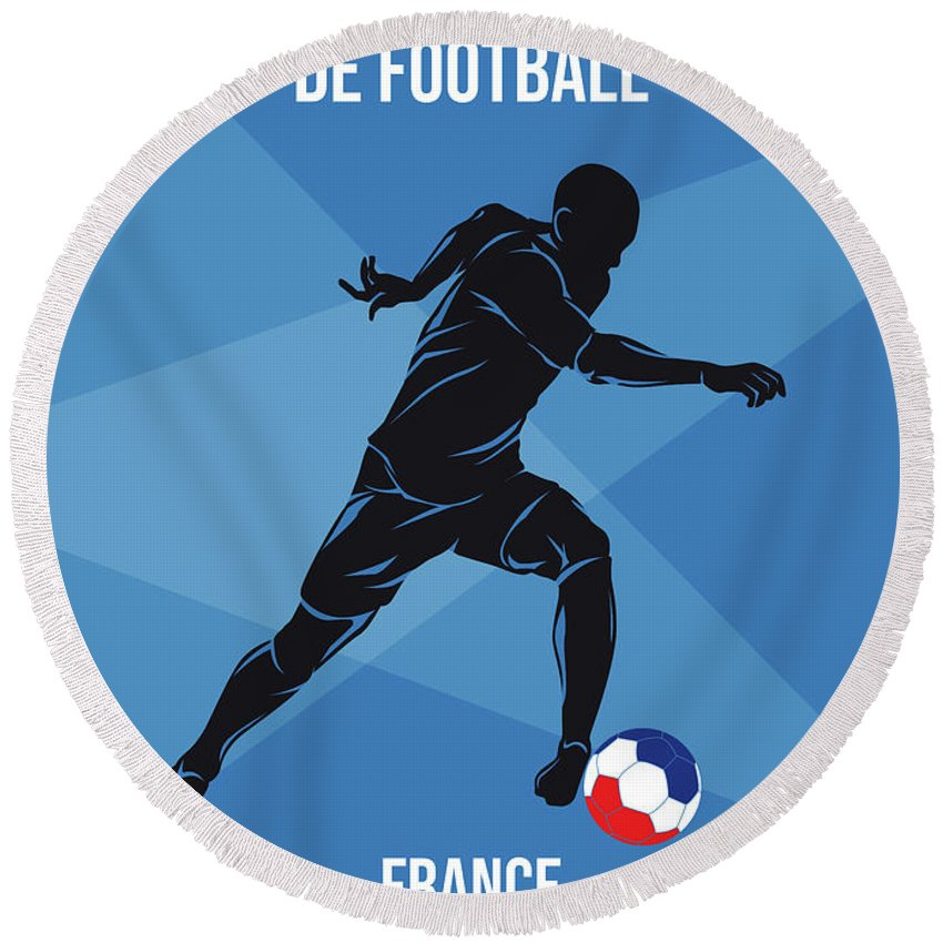World Round Beach Towel featuring the digital art No16 My 1998 France Soccer World Cup Poster by Chungkong Art