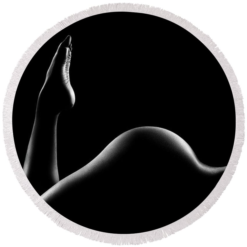 Woman Round Beach Towel featuring the photograph Nude Woman Bodyscape 14 by Johan Swanepoel