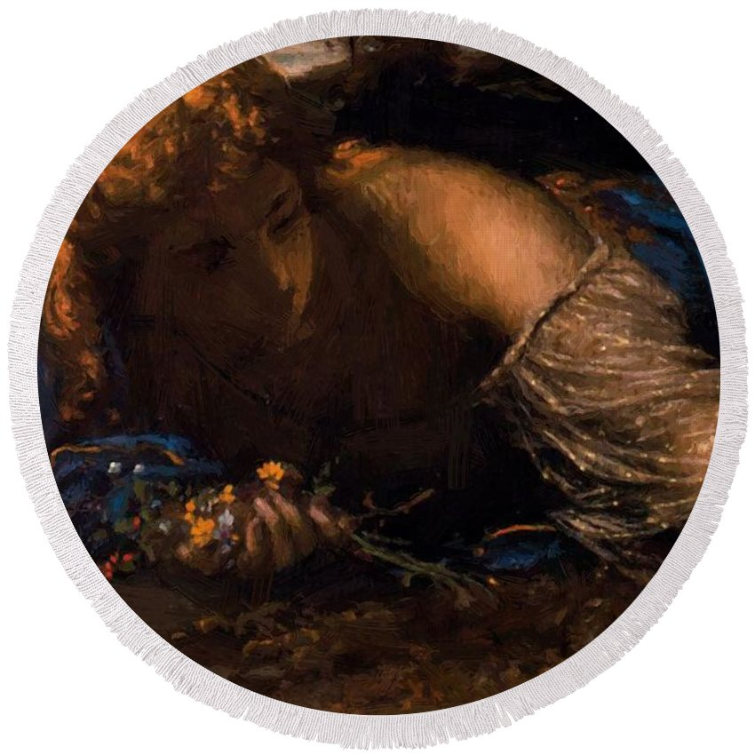 Nymph Round Beach Towel featuring the painting Nymph 1875 by Bocklin Arnold