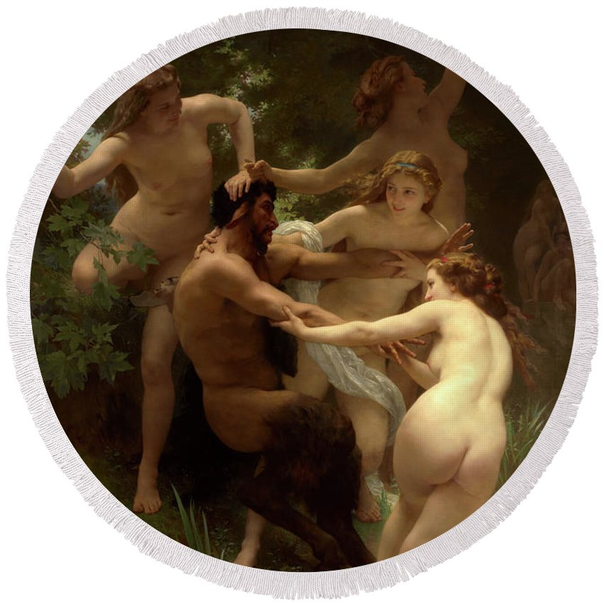William-adolphe Bouguereau Round Beach Towel featuring the painting Nymphs And Satyr, 1873 by Bouguereau