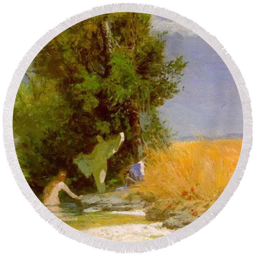 Nymphs Round Beach Towel featuring the painting Nymphs Bathing by Bocklin Arnold