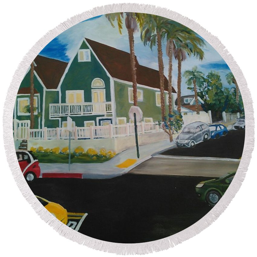 Painting Round Beach Towel featuring the painting OB House by Andrew Johnson