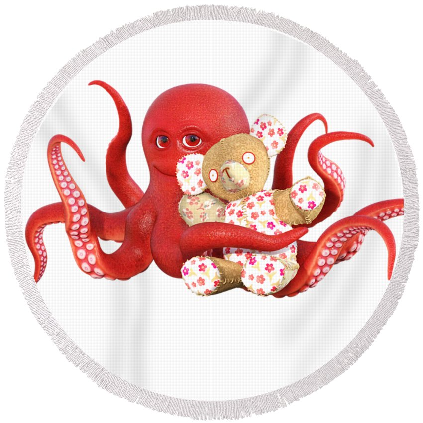 Octopus Round Beach Towel featuring the digital art Octopus Red With Bear by Betsy Knapp
