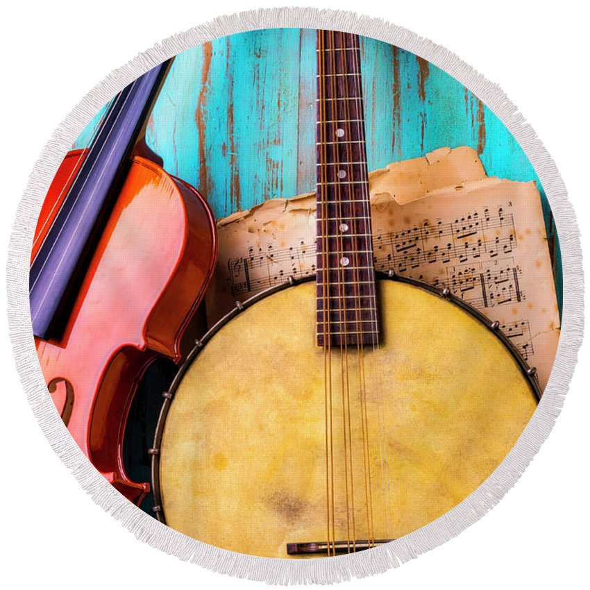 American Round Beach Towel featuring the photograph Old Banjo And Violin by Garry Gay