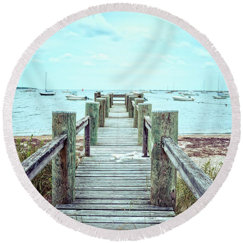 Dock Round Beach Towel featuring the photograph Old Dock Hyannis Port Cape Cod Ma by Edward Fielding