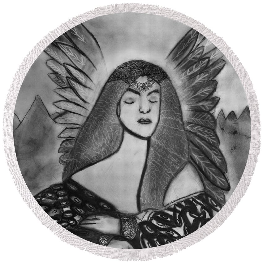 Charcoal Art Round Beach Towel featuring the drawing Oracle by Nadija Armusik