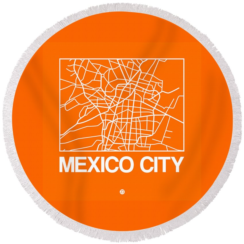 Mexico City Round Beach Towel featuring the digital art Orange Map Of Mexico City by Naxart Studio