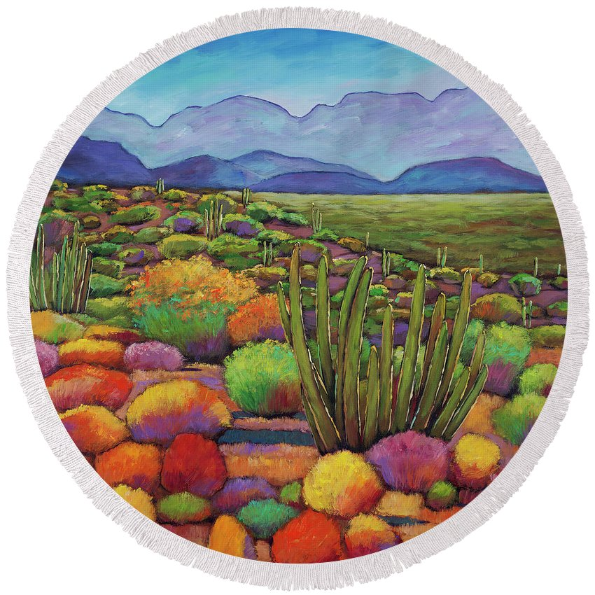 Desert Landscape Round Beach Towel featuring the painting Organ Pipe by Johnathan Harris