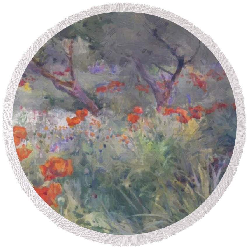 Oriental Round Beach Towel featuring the painting Oriental Poppies by Butler Mildred Anne