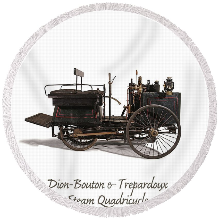 Dion-bouton Et Trépardoux Round Beach Towel featuring the mixed media Original Steam Carriage From 1887 by Patricia Hofmeester