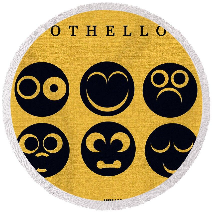 Othello Round Beach Towel featuring the digital art Othello Minimalsim Cover Art by David Lee Thompson