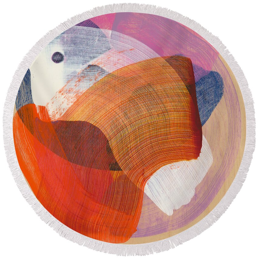 Abstract Round Beach Towel featuring the painting Out Of The Blue 01 by Claire Desjardins