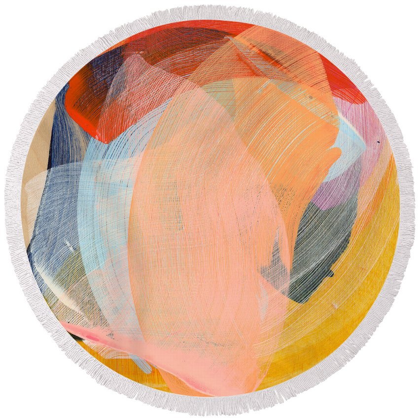 Abstract Round Beach Towel featuring the painting Out Of The Blue 02 by Claire Desjardins