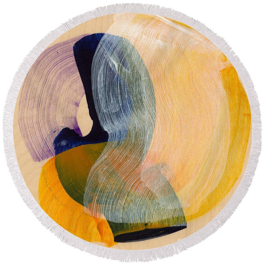 Abstract Round Beach Towel featuring the painting Out Of The Blue 04 by Claire Desjardins