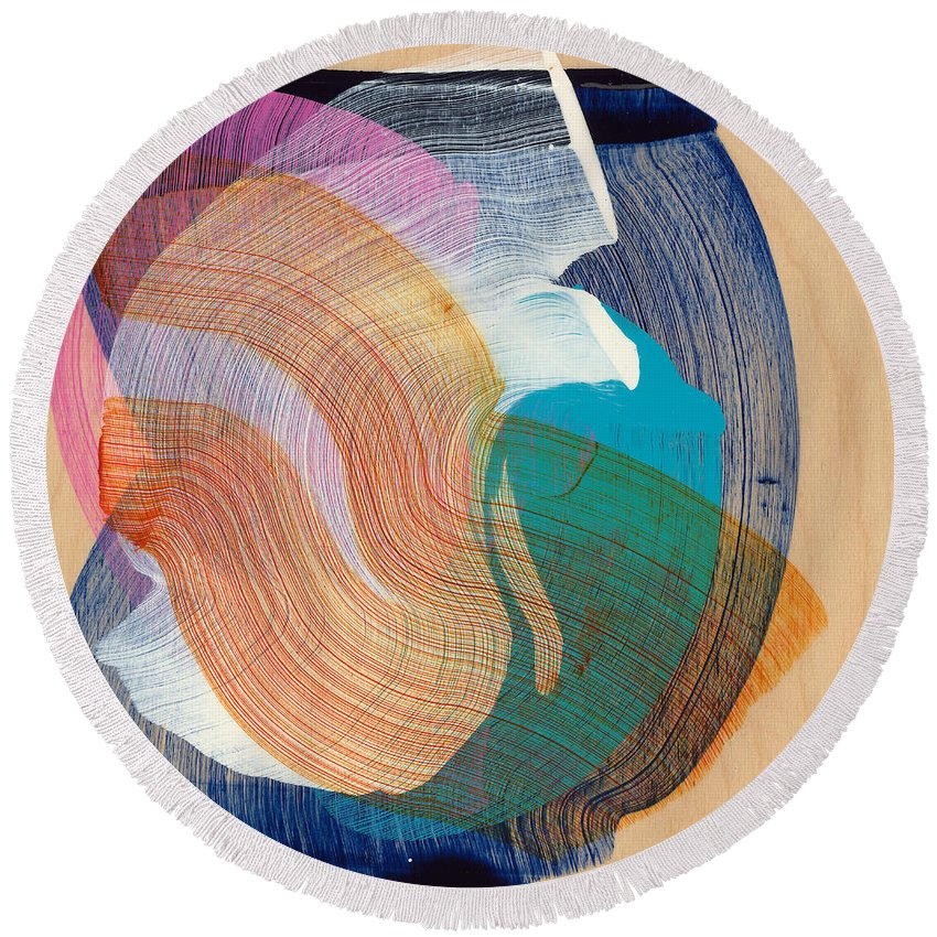 Abstract Round Beach Towel featuring the painting Out Of The Blue 07 by Claire Desjardins