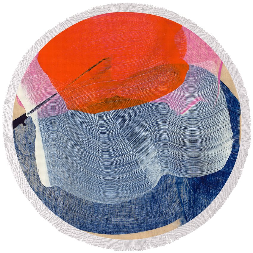 Abstract Round Beach Towel featuring the painting Out Of The Blue 08 by Claire Desjardins