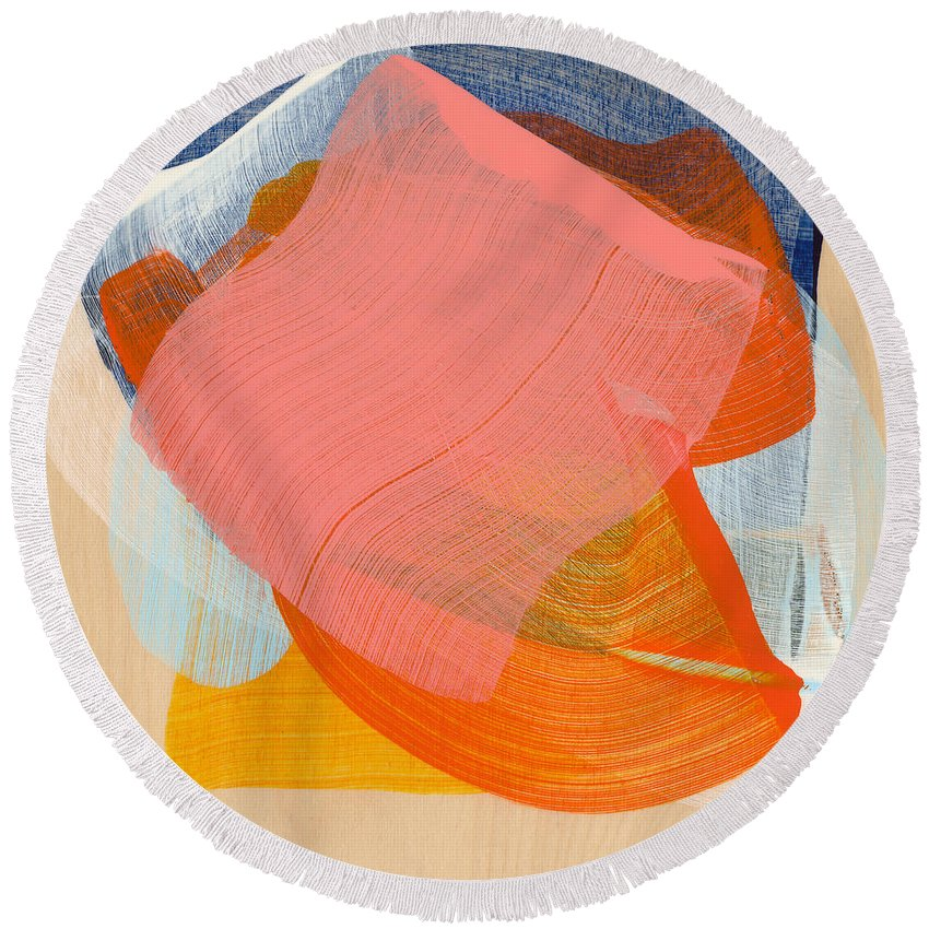 Abstract Round Beach Towel featuring the painting Out Of The Blue 10 by Claire Desjardins