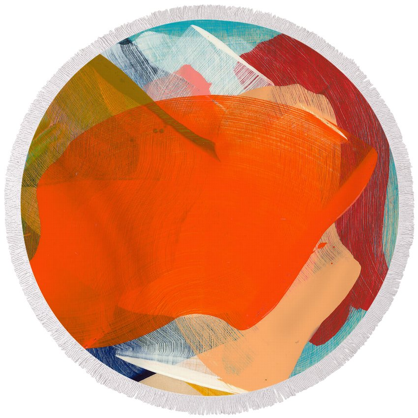 Abstract Round Beach Towel featuring the painting Out Of The Blue 11 by Claire Desjardins