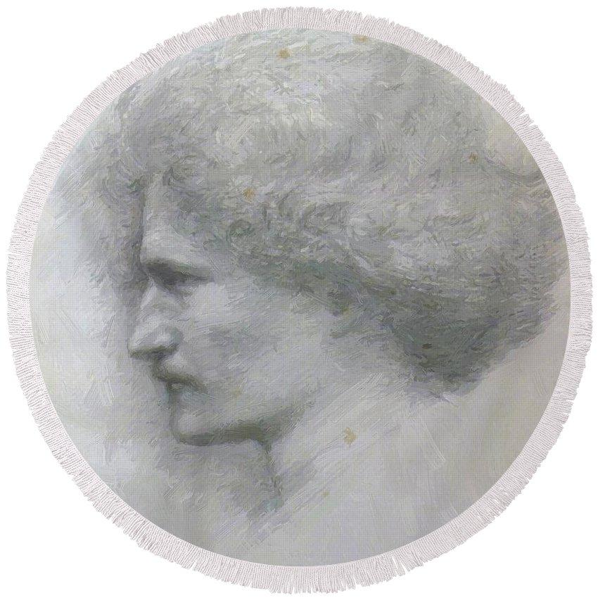 Paderewski Round Beach Towel featuring the painting Paderewski by BurneJones Edward