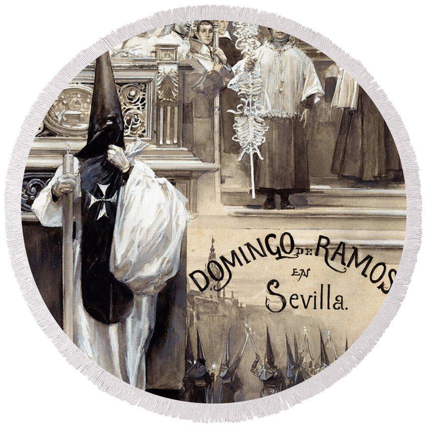 Jose Garcia Ramos Round Beach Towel featuring the painting Palm Sunday In Seville by Jose Garcia Ramos