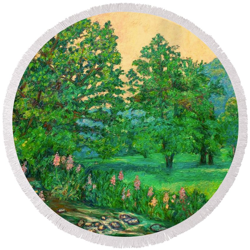 Landscape Round Beach Towel featuring the painting Park Road in Radford by Kendall Kessler