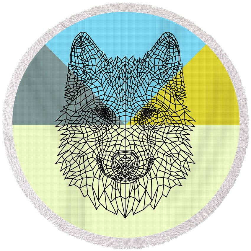 Wolf Round Beach Towel featuring the digital art Party Wolf by Naxart Studio