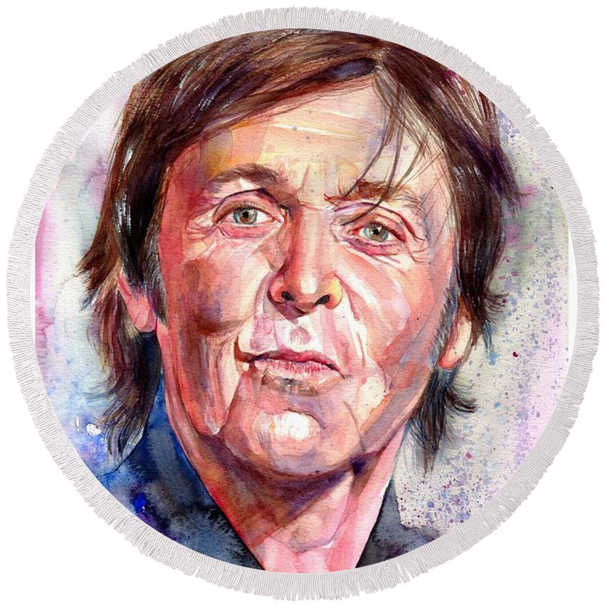 Paul Round Beach Towel featuring the painting Paul McCartney Watercolor by Suzann Sines