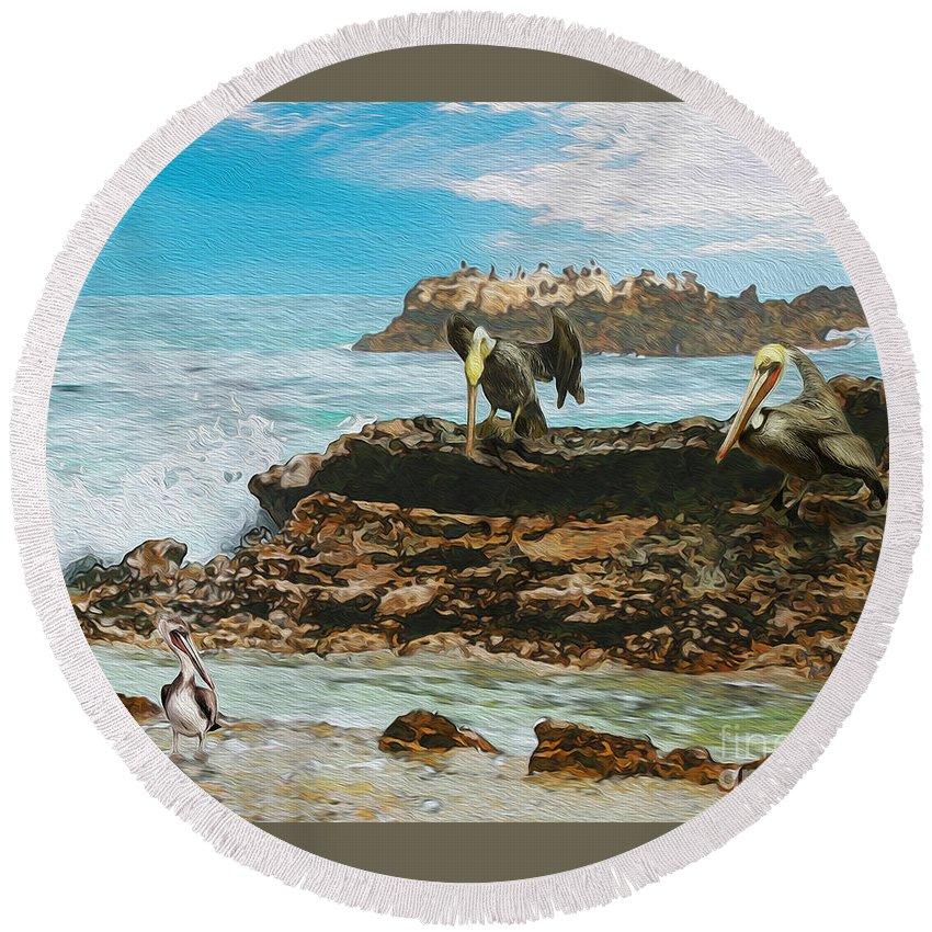 Pelicans At Laguna Beach Round Beach Towel featuring the painting Pelicans At Laguna Beach 3 by Todd L Thomas
