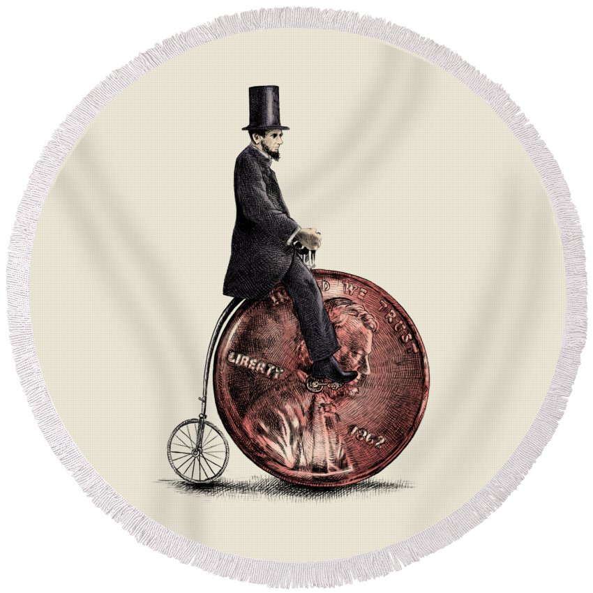 Abe Round Beach Towel featuring the digital art Penny Farthing by Eric Fan
