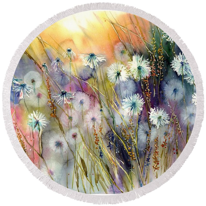 Watercolor Round Beach Towel featuring the painting Perfect Summer by Suzann Sines