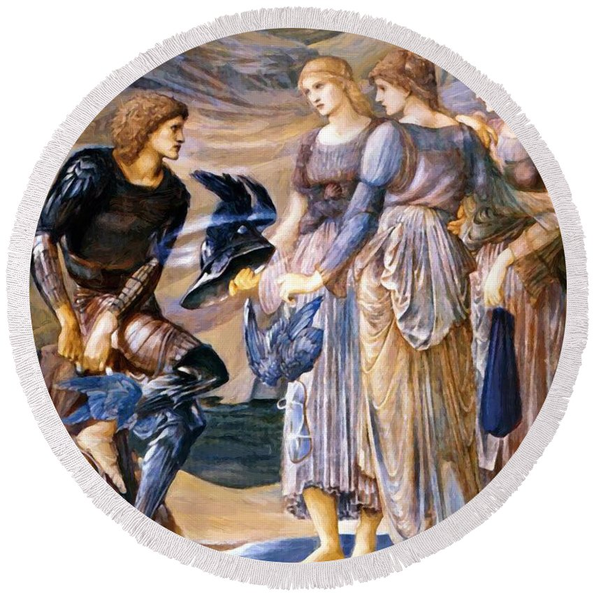 Perseus Round Beach Towel featuring the painting Perseus And The Sea Nymphs 1877 by BurneJones Edward