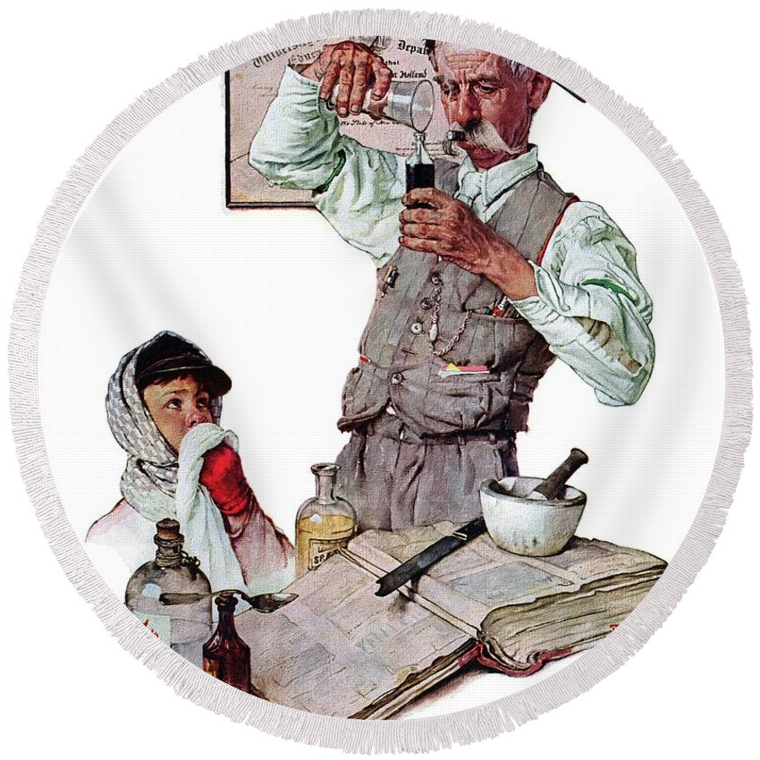 Boy Round Beach Towel featuring the drawing Pharmacist by Norman Rockwell