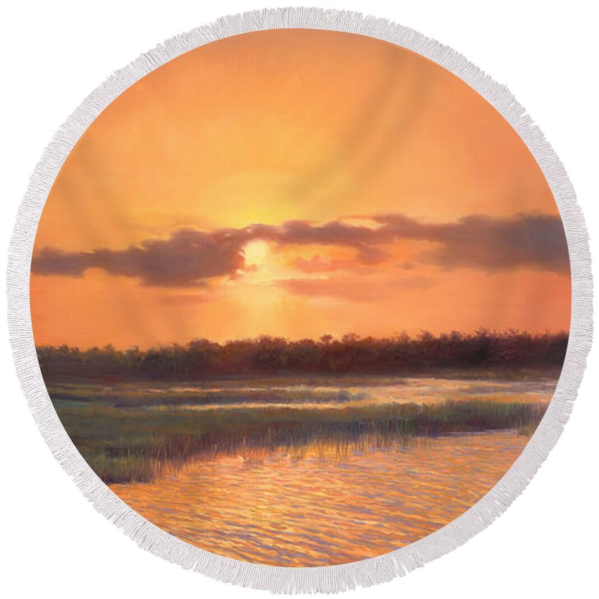 Panoramic Landscape Round Beach Towel featuring the painting Pine Glades Sunset by Laurie Snow Hein