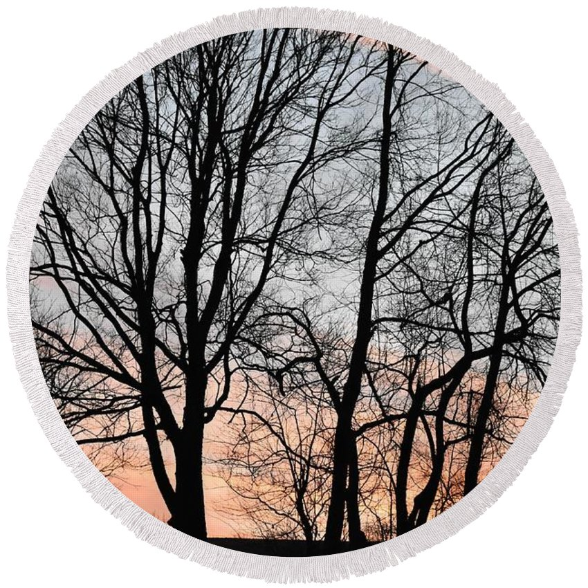 Trees Round Beach Towel featuring the photograph Pink Sky by Cassidy Marshall