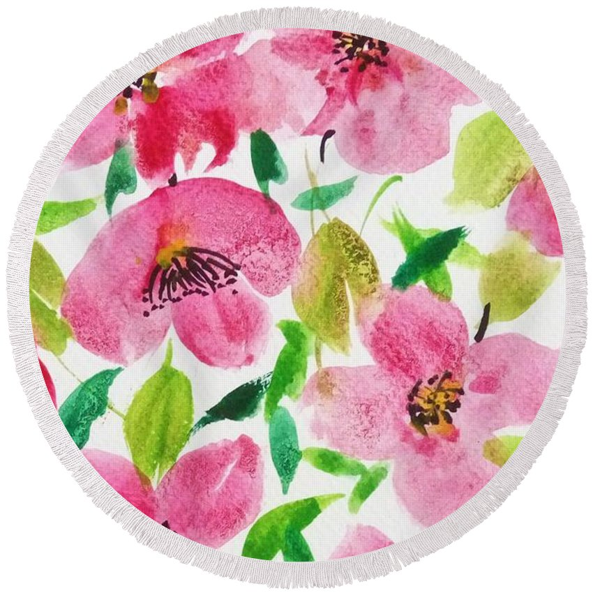 Florals Round Beach Towel featuring the painting Pink Spring by Shweta Saxena