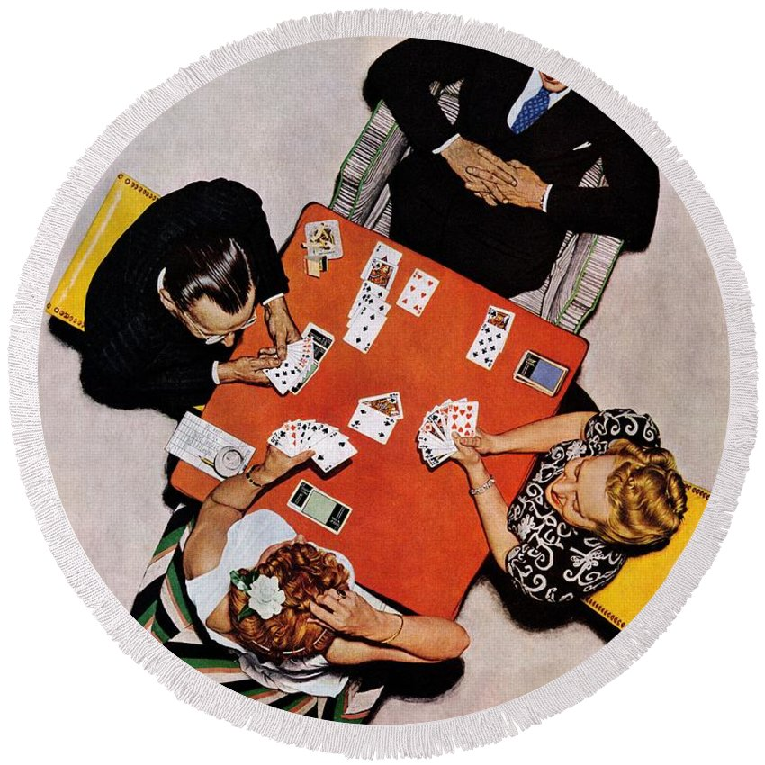 Bridge Round Beach Towel featuring the drawing Playing Cards by Norman Rockwell