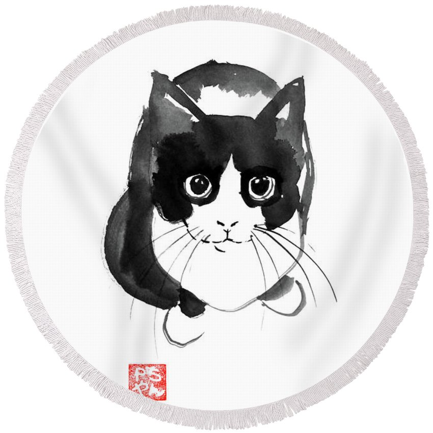 Cat Round Beach Towel featuring the painting Plongee by Pechane Sumie