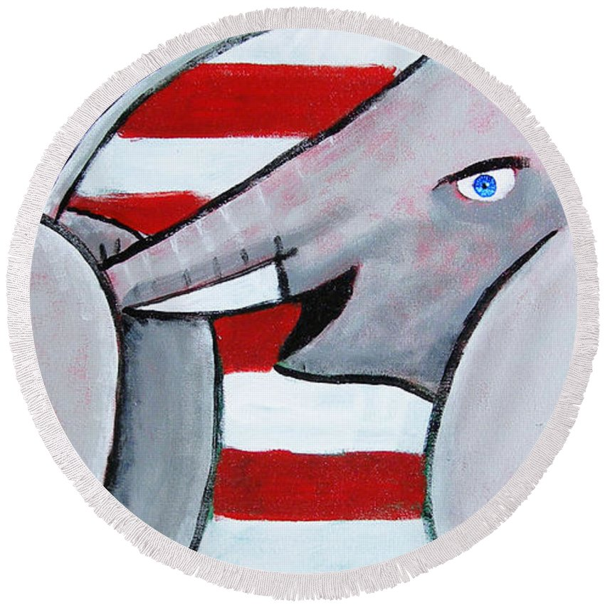 Donkey Round Beach Towel featuring the painting Politics Stick by Howard Weliver