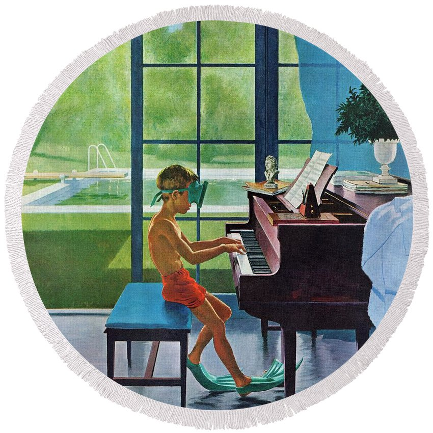 Boy Round Beach Towel featuring the drawing Poolside Piano Practice by George Hughes